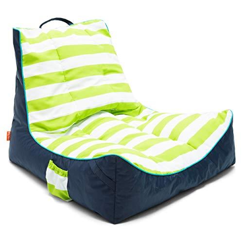 Big Joe 2182946 Captain's Float Cabana Stripe Lime/Navy SunMax, One Size, (Pool Bean Bag)