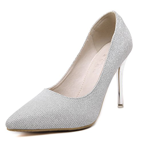Slip PU Pumps Womens Leather Silver Dress On Large Size 6qOTnxwfE