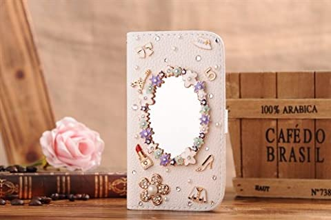 For Apple Iphone 5c Mobile Phone Case Lady Wallet Case with 3d Bling Rhinestone Fold Flip Leather Cover Beautiful Housing New Designer By Wellpad (flower make up (3d Bling Cases For Iphone 5c)