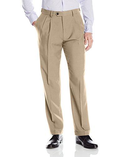 Haggar Men's eCLo Stria Expandable-Waist Pleat-Front Dress Pant, Sand, 34Wx29L