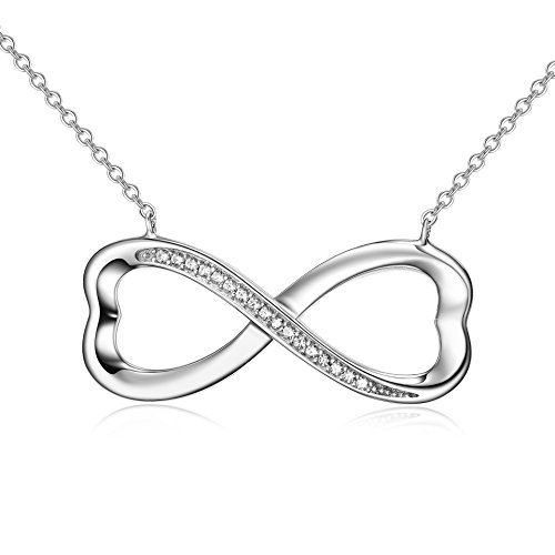 White Zircon Necklace - 925 Sterling Silver Necklace Infinity Heart Pendant White Gold Plated Cubic Zircon Women Jewelry