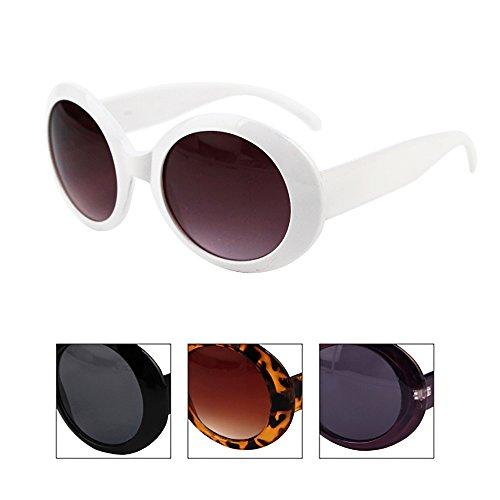462a46397c3 Amazon.com  Womens Fashion Circle Round Jackie O Bold Chic Sunglasses P547  (2 Pc Black Smoke Lens   White-Smoke Lens)  Clothing