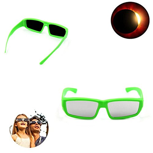 Price comparison product image LINGERY 1PC Solar Eclipse Glasses for the Great American Safety View 2017 Galaxy Edition CE and ISO Standard Viewing Protect Your Eyes (Green)