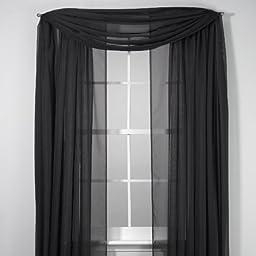 1 X Elegance Sheer Voile Black 216 Inch Scarf
