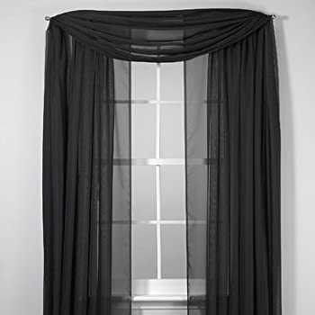 Amazon Com Set Of 2 84 Quot Long Black Sheer Voile Curtains
