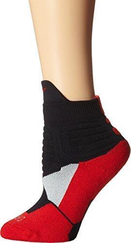 Nike Men's Hyper Elite High Quarter Basketball Socks Black/Red SX4852-002 (Medium 6-8) -