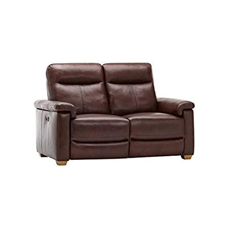 Oak Furniture Land Malmo Electric Recliner Two Seater Sofa In Two Tone  Brown Leather Reclining Sofa