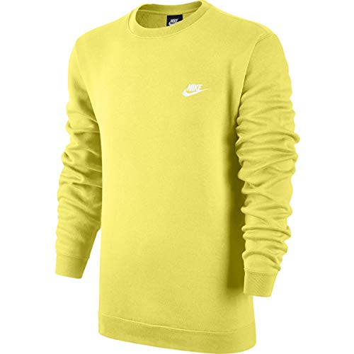 Pullover Club - Nike Mens Sportswear Crew Fleece Club Sweatshirt Yellow Pulse/White 804340-785 Size Large