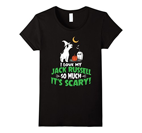 Womens Jack Russell Terrier T-Shirt Funny Halloween Shirt XL Black (Halloween Jack Russell)