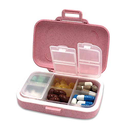 LazyMe Weekly Pill Organizer Wheat Straw Pill Box 6 Compartments Pill Case...