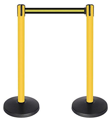 2 wide QueueWay PLUS Tensator 2 wide 10/' length Stripe Black /& Yellow belt Set of 2 QPLUS-35-S4 10 length Stripe Black /& Yellow belt Set of 2 yellow post