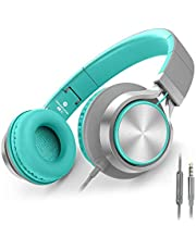 AILIHEN C8 Lightweight Headphones with Microphone and Volume Control on Ear Foldable Headsets for iPhone iPad iPod Android Smartphones PC Laptop Mac Mp3/mp4 Tablet