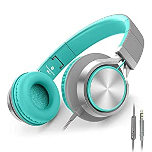 Check this Amazon Best AILIHEN C8 Headphones with Microphone and Volume Control Folding Lightweight Headset for Cellphones Tablets Smartphones Laptop Computer PC Mp3/4 (Grey/Mint)