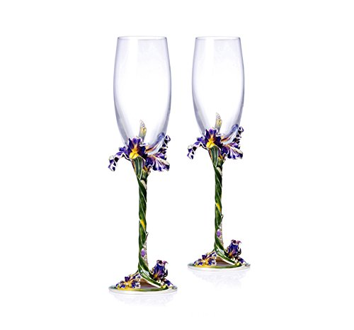 RORO Wedding Gift, Enameled and Jeweled Bohemian Crystal Champagne Flute Glasses, Swarovski Decoration, Luxury Home Accessories