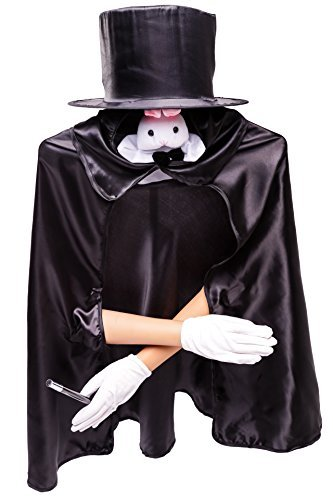 Kids Basic 6pc Magician Costume Set w/Storage Bag Black -