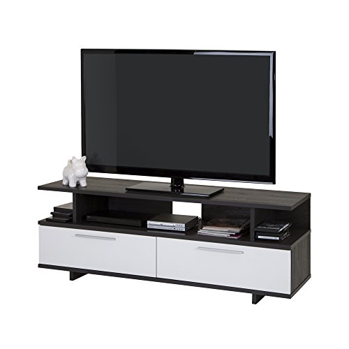 South Shore Reflekt TV Stand - Fits TVs Up to 60'' Wide – Oak/Pure White - Philips Satellite Vcr