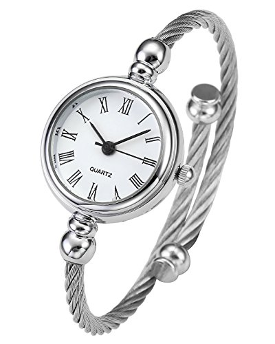 Top Plaza Womens Fashion Silver Tone Analog Quartz Bangle Cuff Bracelet Wrist Watch, Unique Elegant Stainless Steel Wire Band, Roman Numerals - White