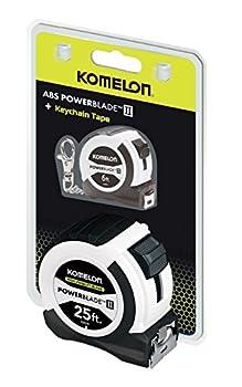Komelon 5242506 Powerblade Ii with 6' Keychain Tape, 25', White and Black