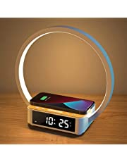 Alarm Clock QI Wireless Charging with Light, Wake up Light Alarm Clock Digital Sonic 10W Max Wireless Charging Pad Stand Bundle Table Lamp Eye-Caring Reading Light, Home, Dorm and Office