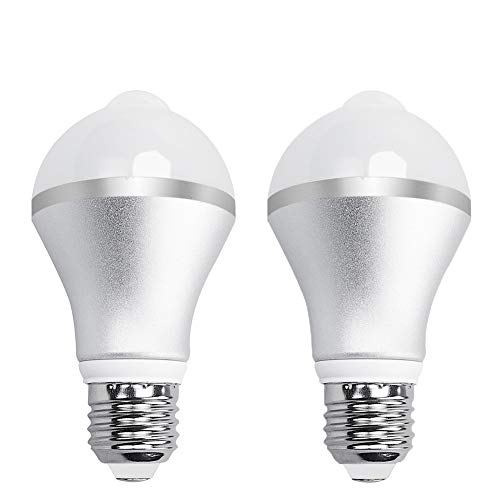 Aukora 9W Motion Activated LED Bulb - E26/E27 Motion Sensor Light Bulb Outdoor/Indoor LED Dusk to Dawn Bulbs with Motion Detector for Front Door Garage Basement Hallway Stairs(Cold White 2 Pack)