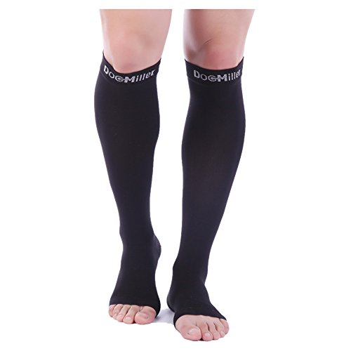 Doc Miller Premium Open Toe Compression Sleeve 1 Pair 20-30mmHg Strong Calf Support Graduated Pressure for Sports Running Muscle Recovery Shin Splints Varicose Veins (2-Pack, Black, Large)