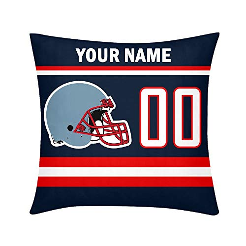 ShowRoom16 Personalized Your Name and Number Square Decorative Throw Pillow Covers Both Sides Printing Custom Football Gifts -