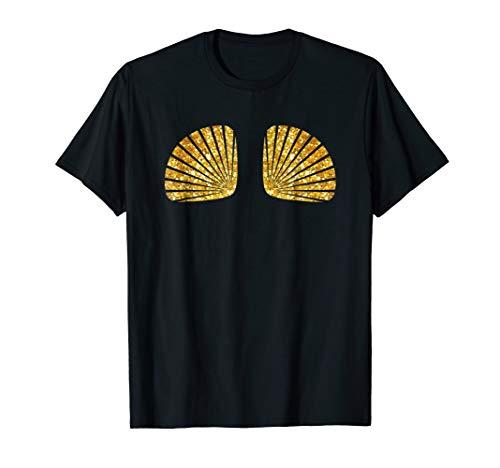 Mermaid Sea Shell Bra T Shirt Gold Seashell Shirts