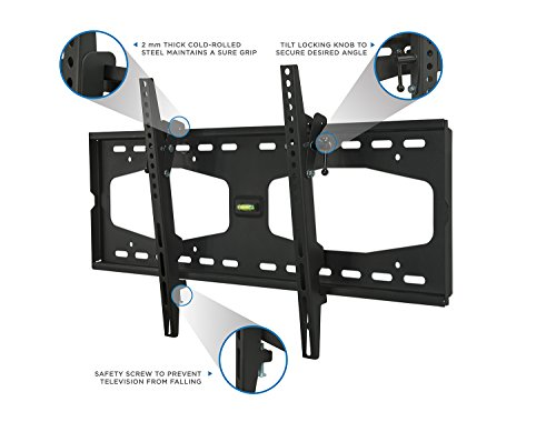 Mount-It! Slim Tilting TV Wall Mount Bracket for 32-55 Inch Samsung, Sony, Vizio, LG, Sharp TVs with Low Profile Design up to VESA 600x400mm, Black
