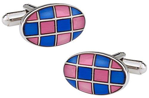 (Cuff-Daddy Pink & Blue Checkerboard Enamel Cufflinks with Presentation Box)