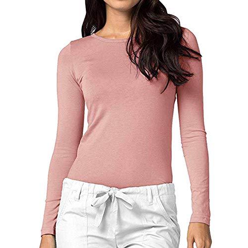 haoricu Womens Basic Top Comfort Long Sleeve Bottom Solid Slim Casual Shirt Tee Blouse Pink
