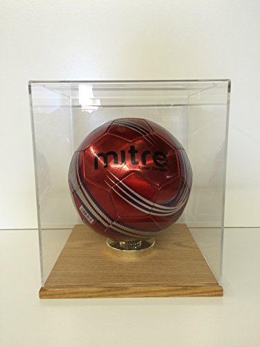 Soccer display case OAK base all clear 85% UV filtering FIFA (Oak Base Football Display Case)