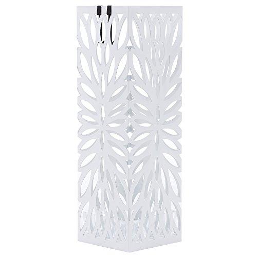 Songmics metall Schirmständer, Wasserauffangschale und Haken werden verschenkt 49 cm weiß LUC48W