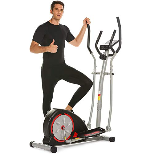 Elliptical Exercise Machine Magnetic Smooth Quiet Driven Eliptical Trainer Machine for Home Use (Red)