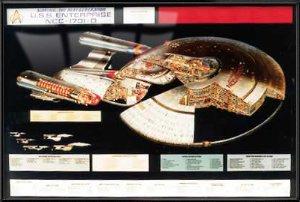Star Trek The Next Generation - Framed TV Show Poster / Print (Enterprise NCC-1701-D Cutaway / Schematics) (Size: 40