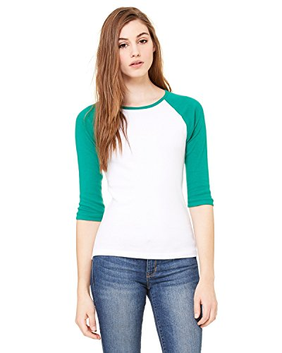 Bella + Canvas Ladies Baby Rib 3/4-Sleeve Contrast Raglan T-Shirt - WHITE/ KELLY - M - (Style # B2000 - Original Label)