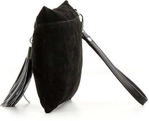 CNTMP - bolso para señora, clutches, clutch, bolsos de mano, bolsas de noche, bolsas de fiesta, bolsos de tendencia, gamuza, ante,flecos,bolso de cuero, 23 x 16, 5x1cm (l x an x a) Negro