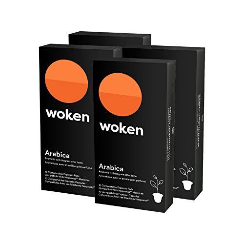 Nespresso Compatible Capsules Arabica, Compostable - 40 Arabica Espresso Pods for Nespresso OrginaLine Machines, Eco-Friendly Alternative by Woken