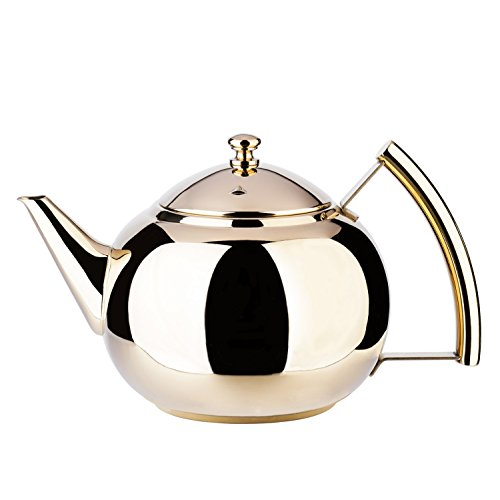 (2 Liter Tea Pot Gold Pot with Infuser for Loose Tea Stainless Steel Coffee Kettle 8 Cup Induction Stovetop Copper Teapot Strainer for Boiling Hot Water Mirror Finish 2.1 Quart 68 Ounce by Onlycooker)