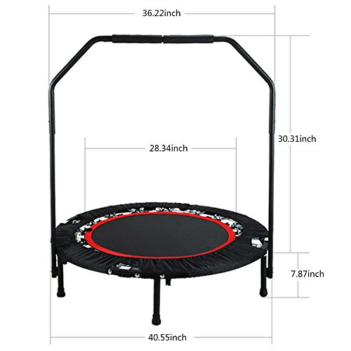 Premium Trampoline, TOPQSC Fitness Trampolines Mini Exercise Trampoline Workout Cardio Training Pro Quarter Folding Jumping Bed Rebounder Trampoline with Adjustable Handrail