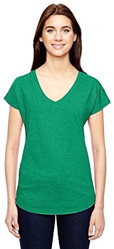 Anvil Ladies Triblend V-Neck T-Shirt. 6750VL Heather Green (Anvil Ladies V-neck Tee)