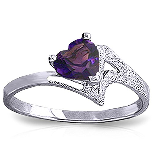 [14k Solid White Gold Ring with Natural Heart-shaped Amethyst - Size 7] (Citrine Amethyst Diamond Heart)