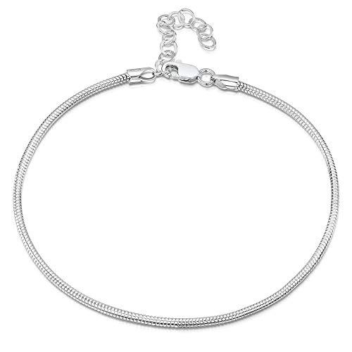 925 Fine Sterling Silver 2 mm Adjustable Anklet - Snake Chain Ankle Bracelet - 9