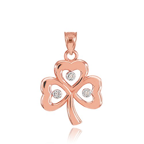 10k Rose Gold Shamrock Charm Three Diamond Clover Leaf Charm Pendant