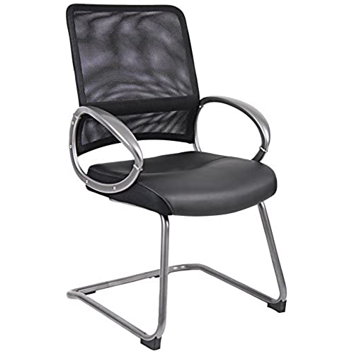 Boss Office Products B6409 Mesh Back Guest Chair With Pewter Finish In Black
