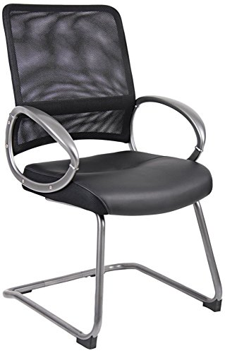 Boss Office Products B6409 Mesh Back Guest Chair with Pewter Finish in (Finished Sled Base)