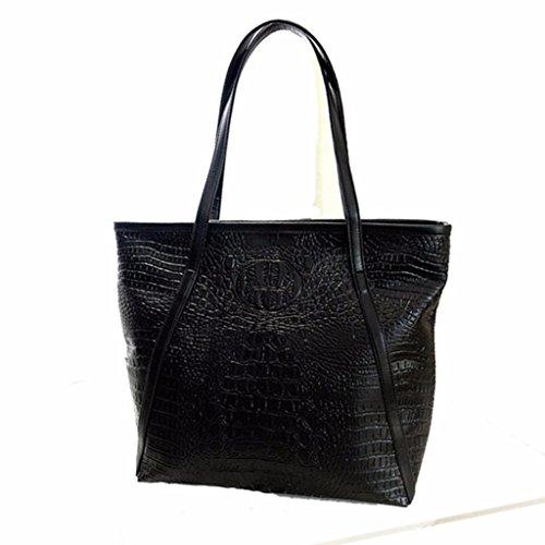 Sacs Capacité bandoulière à Noir ESAILQ fourre Femmes Loisir main Crocodile Sacs tout sac Grande à Grand xxgCp01