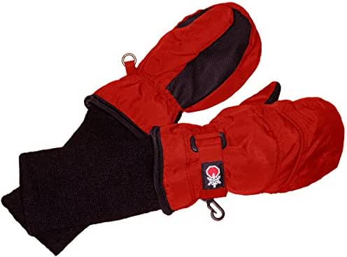SnowStoppers Kid's Nylon Waterproof Snow Colorful Mittens (Red, X-Large)