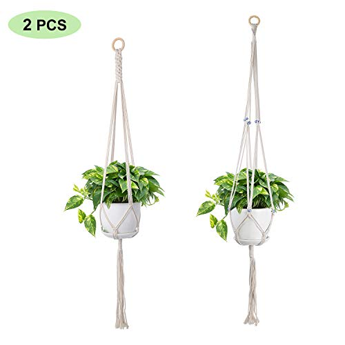 SS SHOVAN 2 Pack Macrame Plant Hangers,Hanging Planter Handmade Cotton Rope Plant Hanger Wall Hanging Planter Basket Flower Pots Holders for Indoor Home Ceiling Outdoor Garden Balcony - Classic Net Hanging