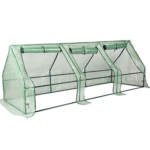 """Sundale Outdoor Portable Gardening Steeple Mini Green House with PE Cover and Zipper Doors, Waterproof Hot Green House, UV Protection, Insect Prevention, 106.3""""(L) x 35.4""""(W) x 35.4""""(H)"""