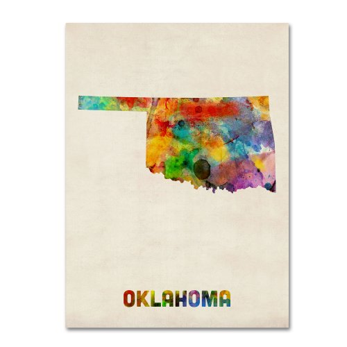 Oklahoma Map by Michael Tompsett, 14 by 19-Inch Canvas Wall Art ()